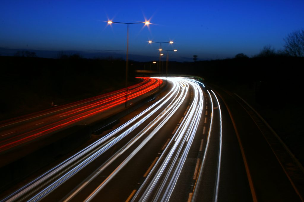 M25 at night - Photo by Bob McCaffrey