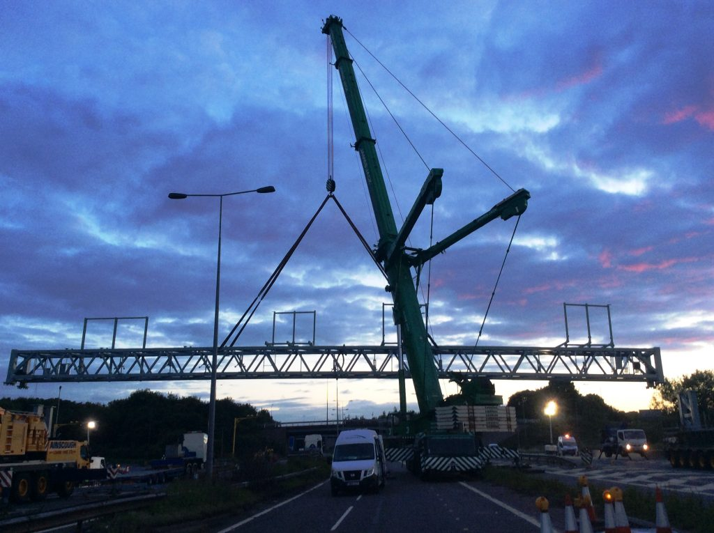 40 metre electronic sign gantry to span M6 Smart Motorway in England