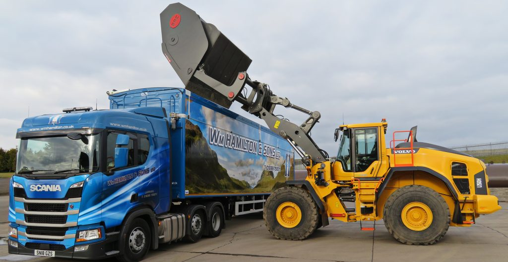 Scotland's William Hamilton and Sons kick-off with a Volvo loading shovel