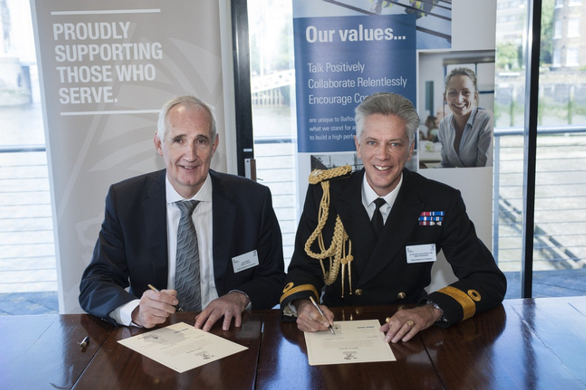 Balfour Beatty Group Chief Executive Leo Quinn and Commodore David Elford Royal Navy, Commander of Naval Forces East of England re-sign the Armed Forces Covenant