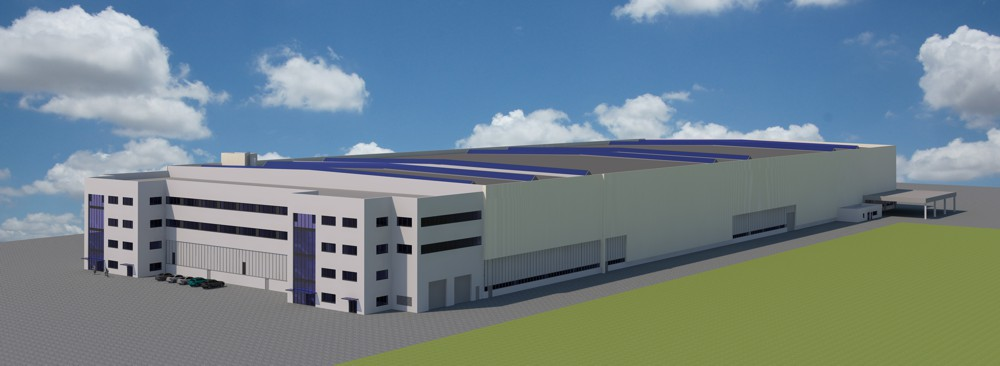 Following completion the new logistics centre for production will have an overall dimension of around 245 x 96 metres and a height of about 22 metres.