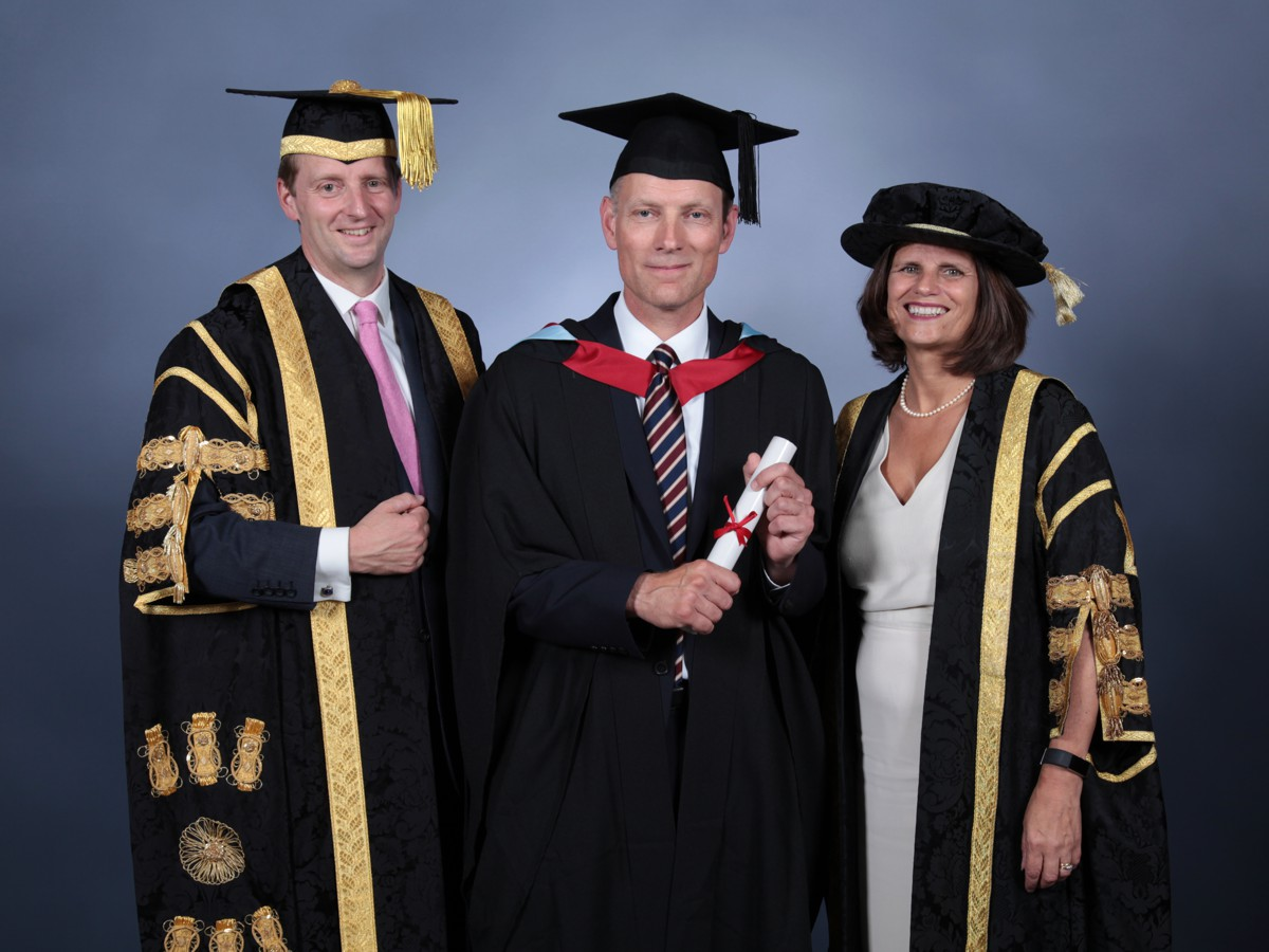 L-R Chancellor William Cavendish, Earl of Burlington; Robin Gillespie, Area Operations Manager North West, Hanson UK; Vice-Chancellor and Chief Executive, Professor Kathryn Mitchell.