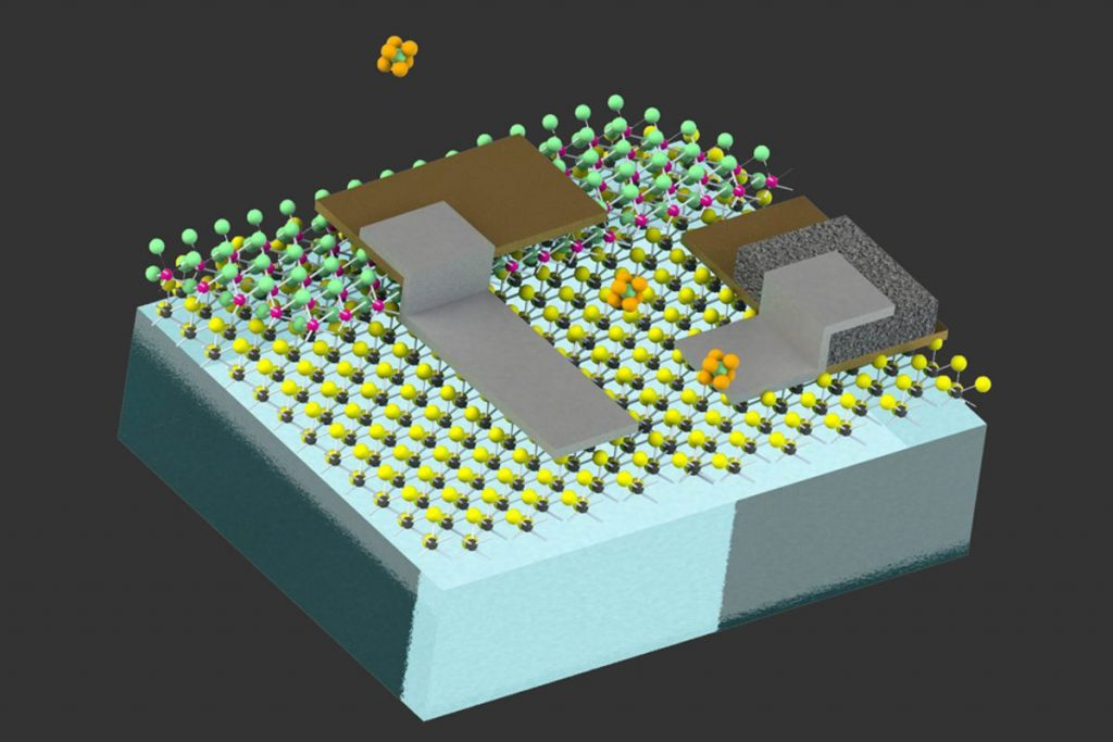 Optical images show circuits made by the research team, prior to being attached to particles just a few hundred nanometers across.