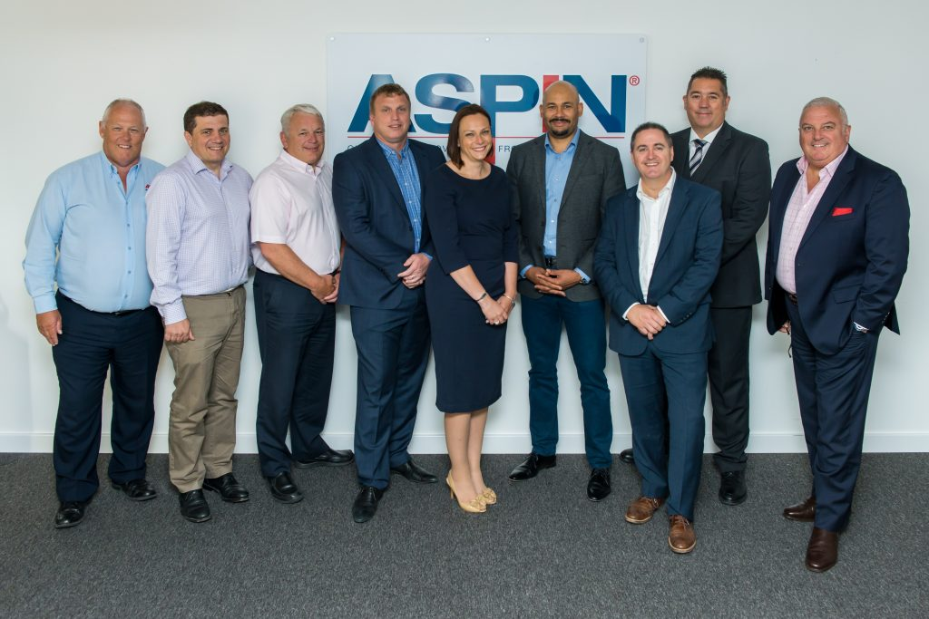 Aspin Exec Team L-R Russell Ward; Iain Sale; Martin Truman; Lee Healey; Alice Bromwich; Paul Oyekanmi; Paul Hughes; Scott Harrison; Chairman Gren Edwards