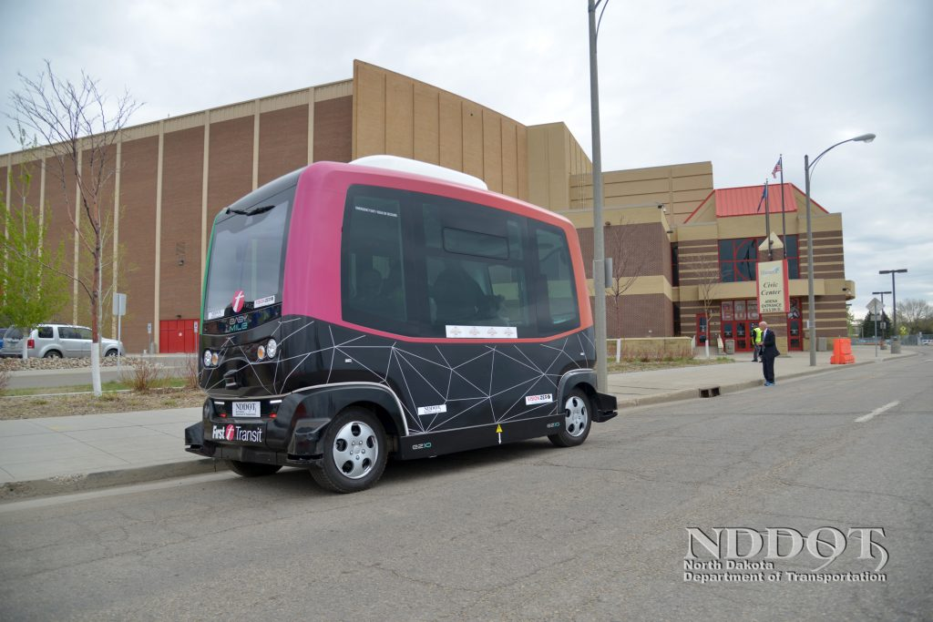 NDDOT celebrated 100 years with a Transportation Expo at the Bismarck Civic Center Event Center. An automated bus gave attendees a chance to take a ride in the future on an advancing technology.