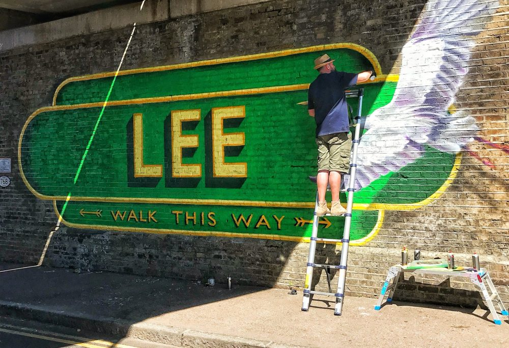 Lionel Stanhope at work on the Lee Mural