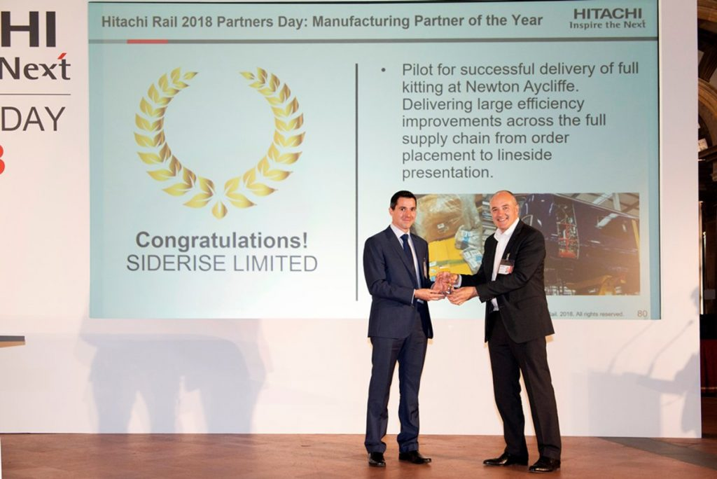 Hitachi Rail Europe presents SIDERISE with Manufacturing Partner Award