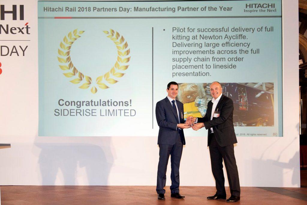 Hitachi Rail Europe presents SIDERISE with Manufacturing Partner Award