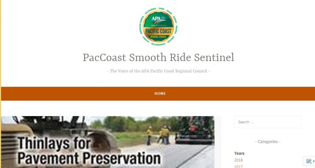 APA Pacific Coast Regional Council Blog highlights US Asphalt Pavement Industry