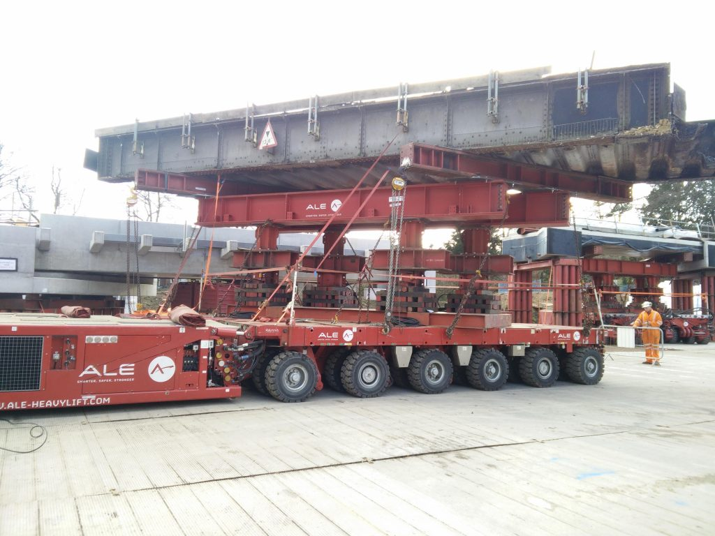 The transporter that will be used to remove the 150-tonne centre section of the bridge