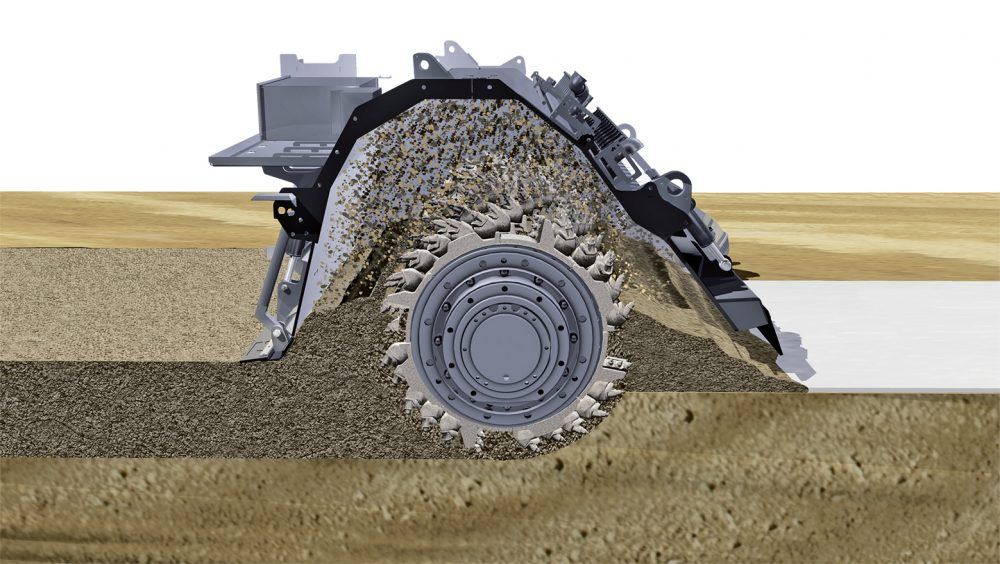 Perfect stabilization: the powerful milling and mixing rotor of the WR 250 blends the pre-spread into a homogenous soil and stabilizing agent mix.