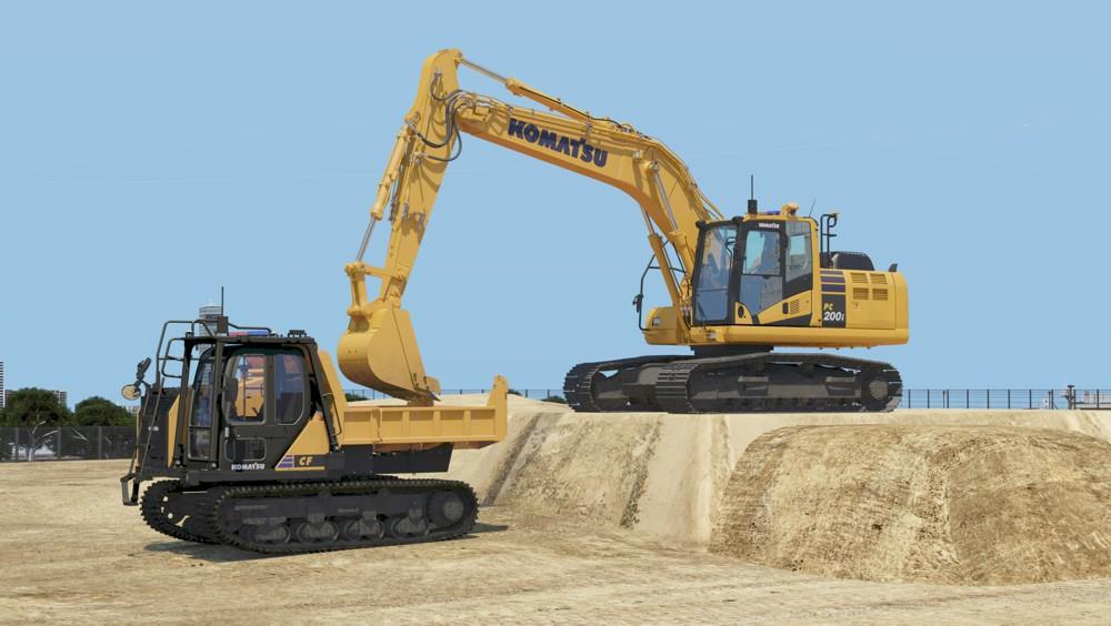 Autonomous hydraulic excavator and crawler dump truck