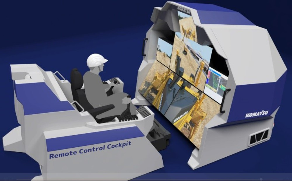 Special cockpit for the remote control of construction machinery