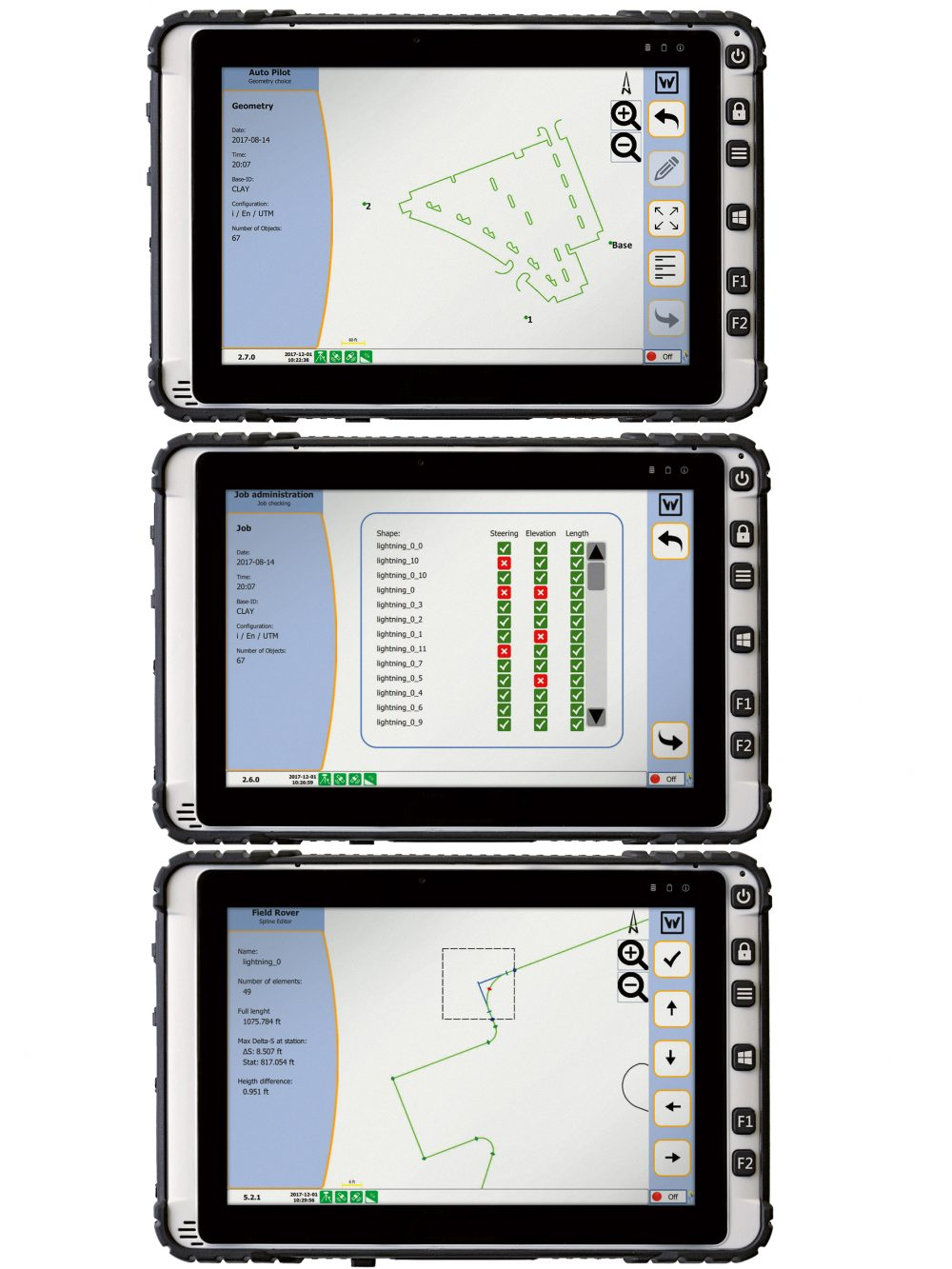 The 3D control system comprises a computer integrated into the paver and a tablet attached to the Field Rover survey pole. Two GPS receivers mounted on the machine communicate with a GPS reference station at the job site.