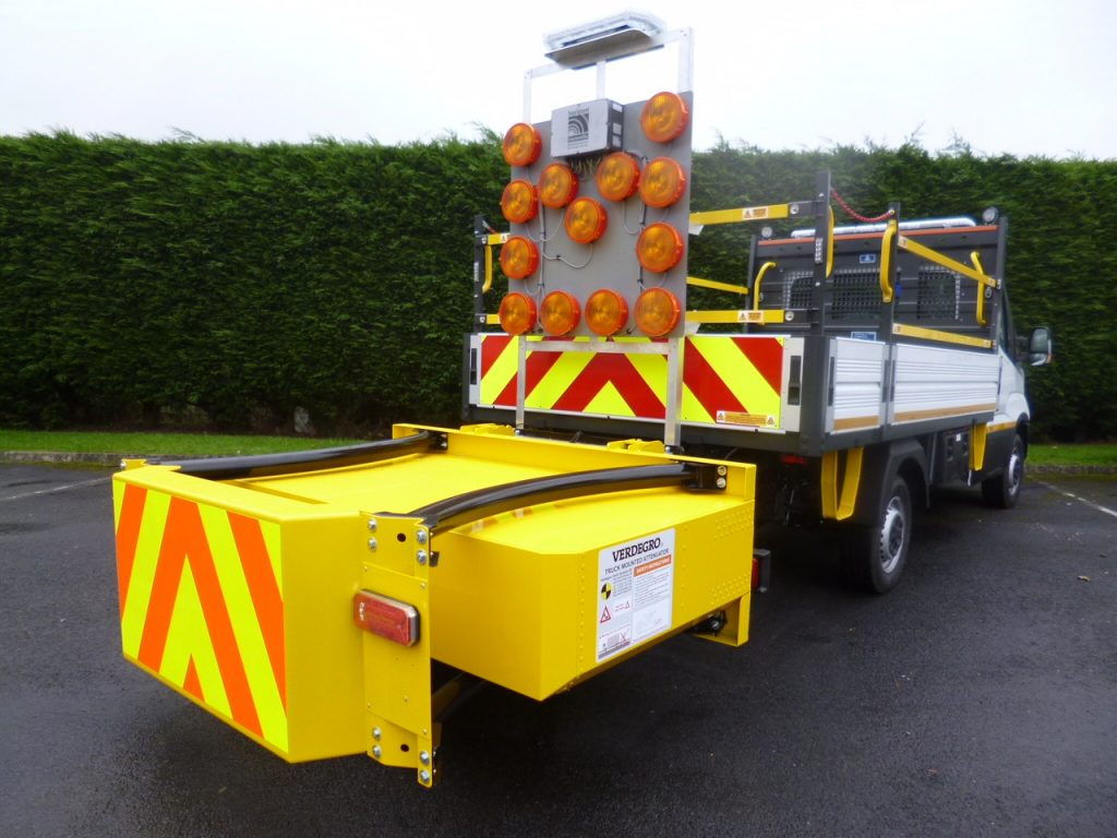 "Blakedale's 3.5 tonne ""city"" IPV, also known as a Light Truck Mounted Attenuator (LTMA) or ""mini"" Crash Cushion Vehicle, is one of the first of its kind in the UK"