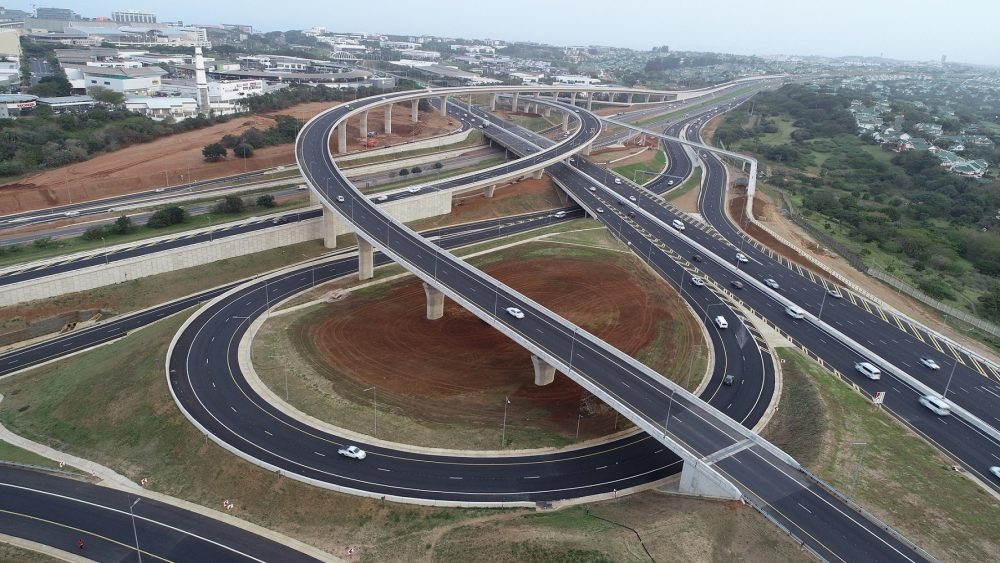 Overhead view of the completed Mt Edgecombe interchange.