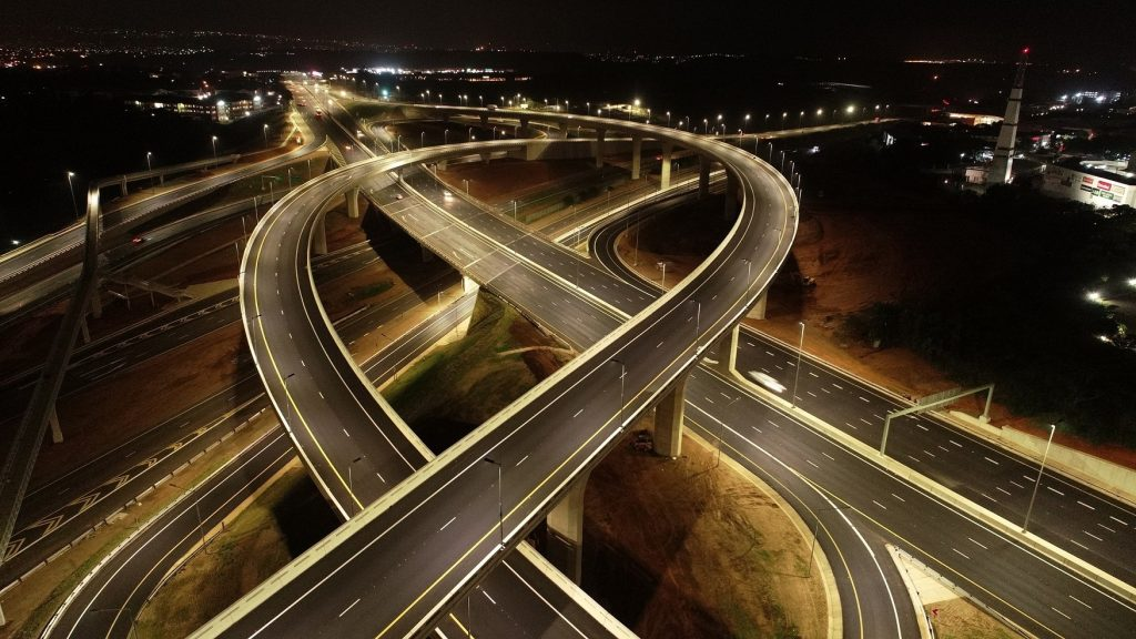 The Mt Edgecombe interchange at night.