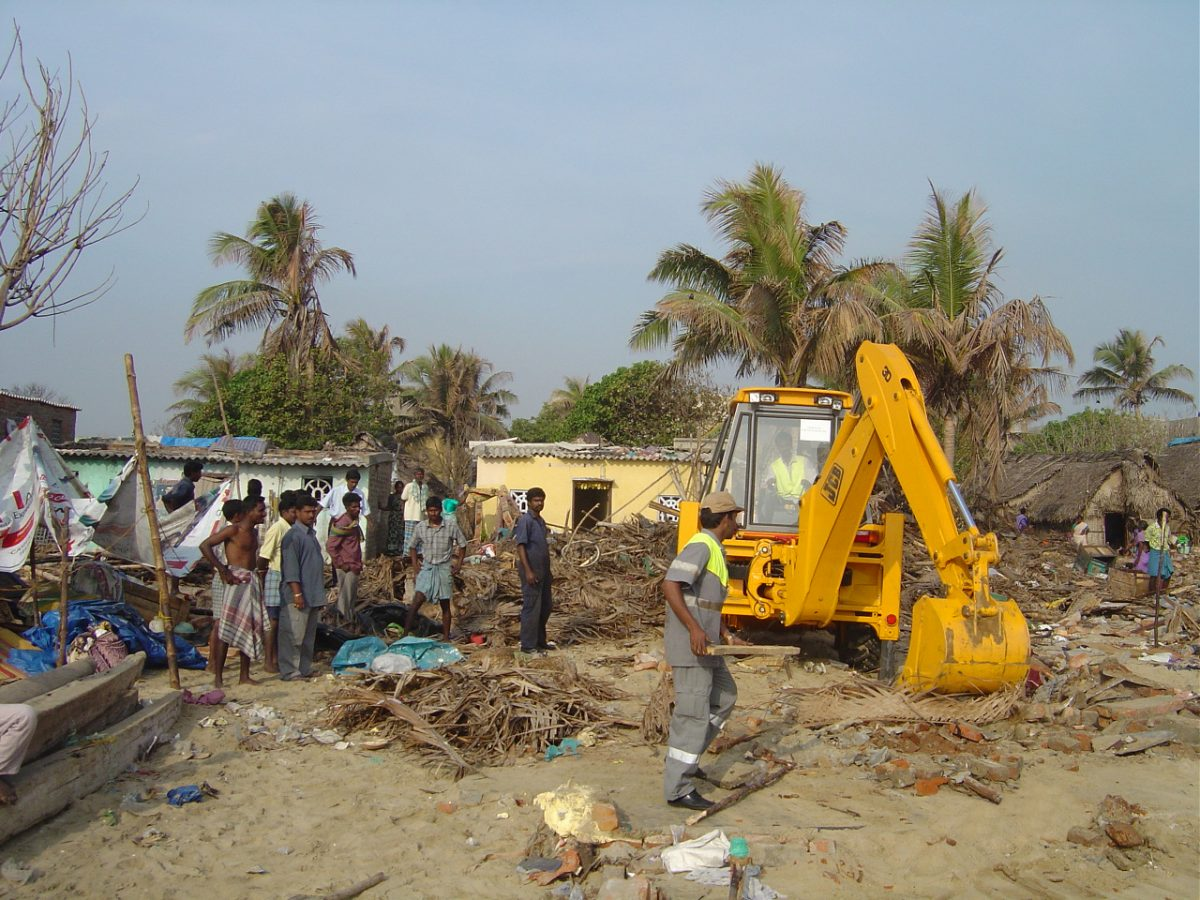 JCB has a long history of donating machines to disaster areas. Here a JCB backhoe is pictured at work in Tamil Nadu after the Tsunami of 2004