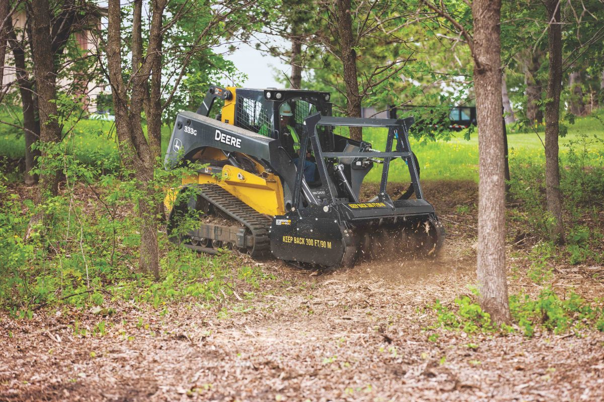 John Deere new mulching head shreds wood in minutes