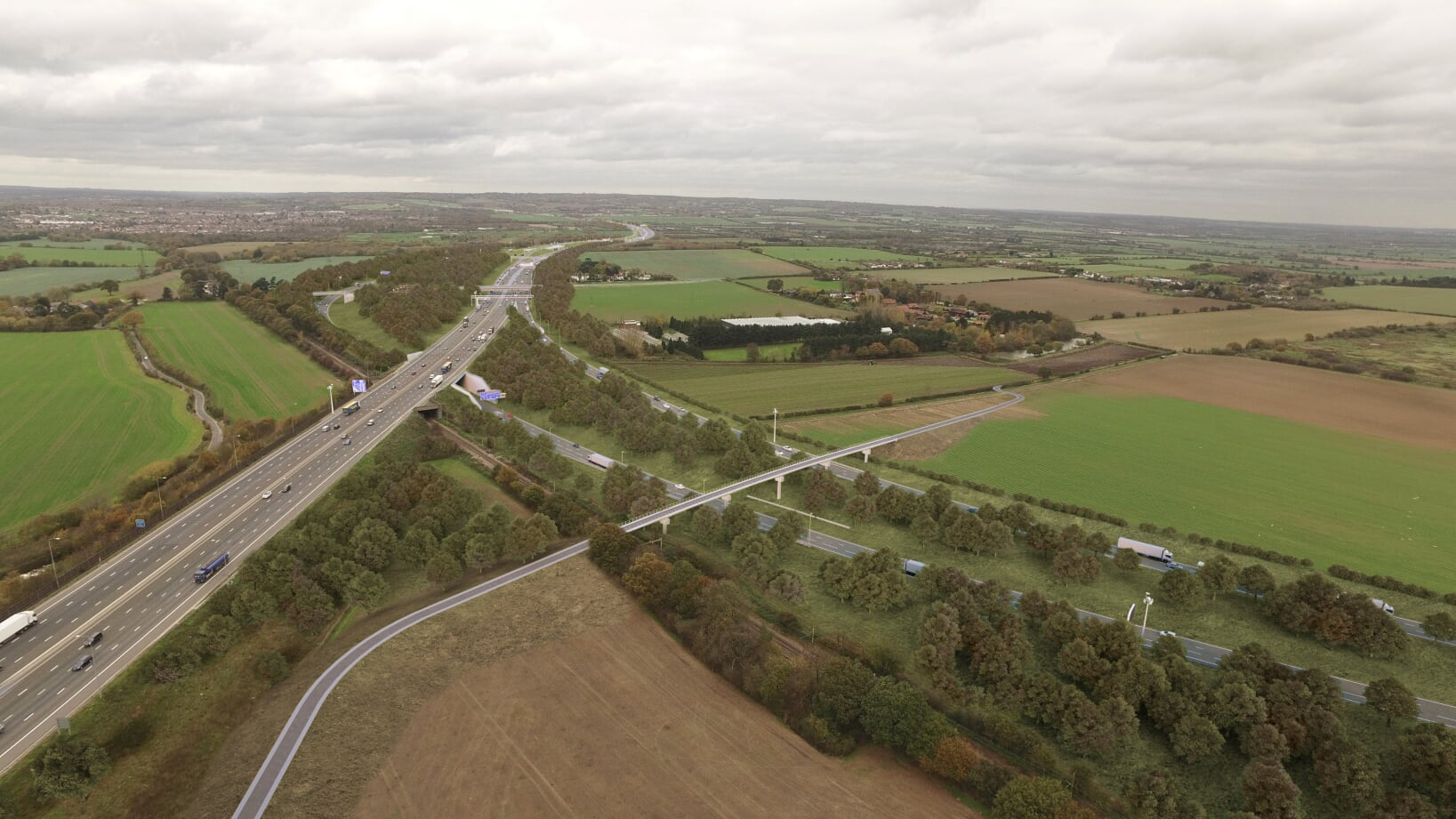 How the Lower Thames Crossing junction with the M25 in Essex will look.