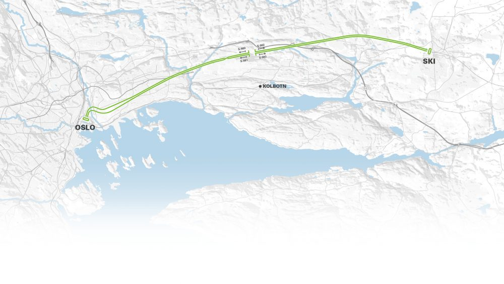 The two 20 kilometer long tunnels connect Oslo with Ski further to the south and from 2021 will shorten travel time for commuters by half