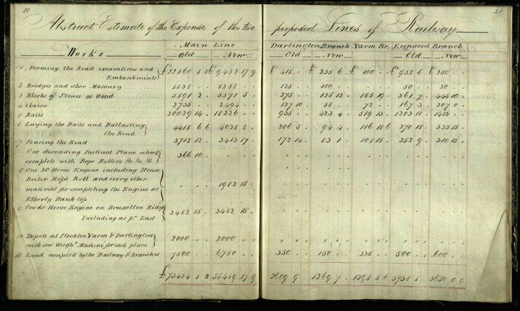 Stephenson notebook Expense of Two Lines from NER AGT 350_Original Report by G Stephenson for S&D 1822