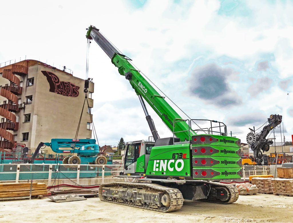 The ENCO's SENNEBOGEN telescopic crane 673 E proving itself once again for special foundations works on the Grand Paris Express construction site