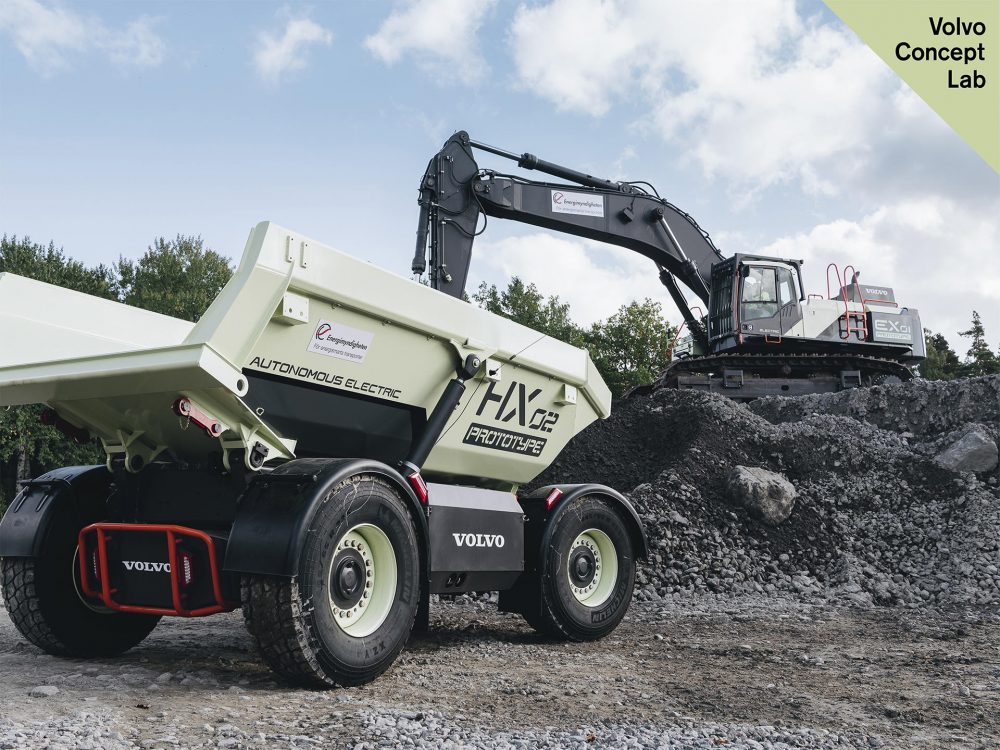 Volvo CE's HX2 is an autonomous, battery-electric, load carrier that is being tested at a Skanska quarry in Sweden.