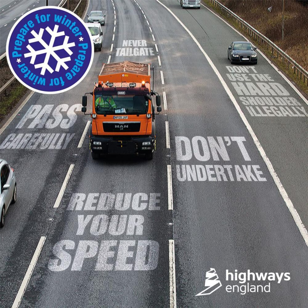 Highways England warns drivers to give gritters space to work