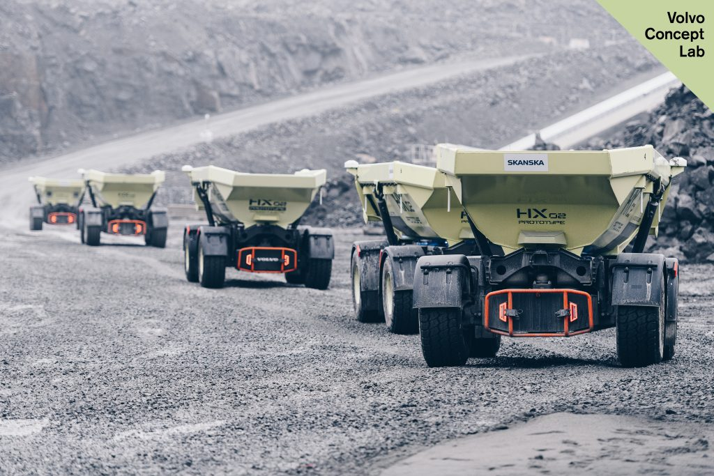 The fleet of HX2 autonomous, battery-electric load carriers