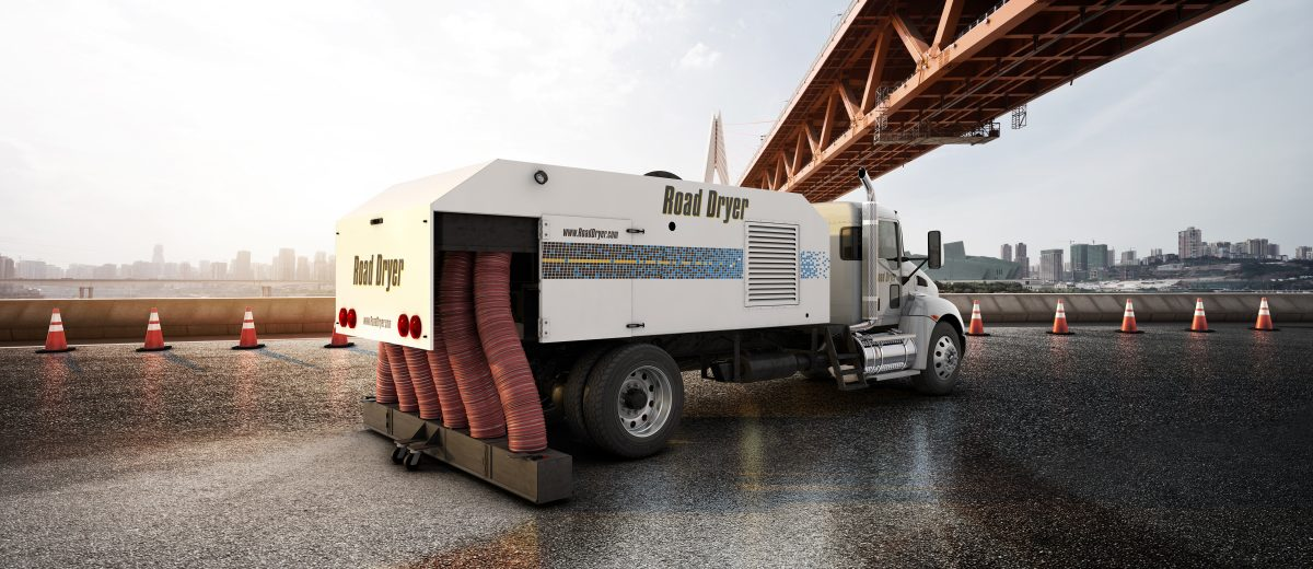 ROAD DRYER RD-1200 dries pavement in one pass for paving and surface treatments