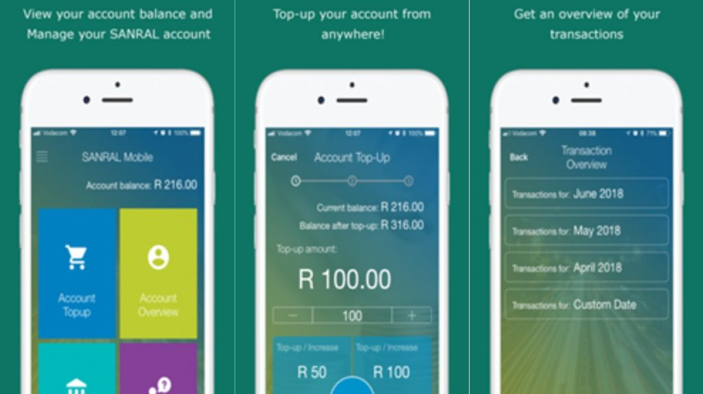 Screen grabs of the SANRAL app