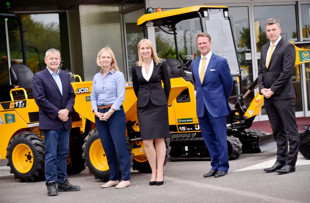 Pictured (left to right) at JCB World Headquarters are: Travis Perkins Chief Executive Officer of General Merchanting Division Paul Tallentire, Travis Perkins Tool Hire Managing Director Catherine Gibson, JCB Group Managing Director Global Key Accounts Yvette Henshall-Bell, Watling JCB Managing Director Richard Telfer and Watling JCB National Account Director Mike Roby.