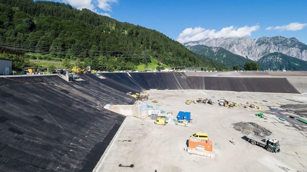 Work underway on the Latschau reservoir in Austria