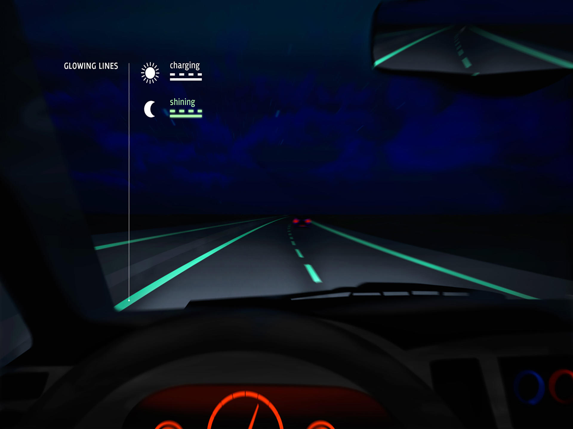 Glowing road markings light the way