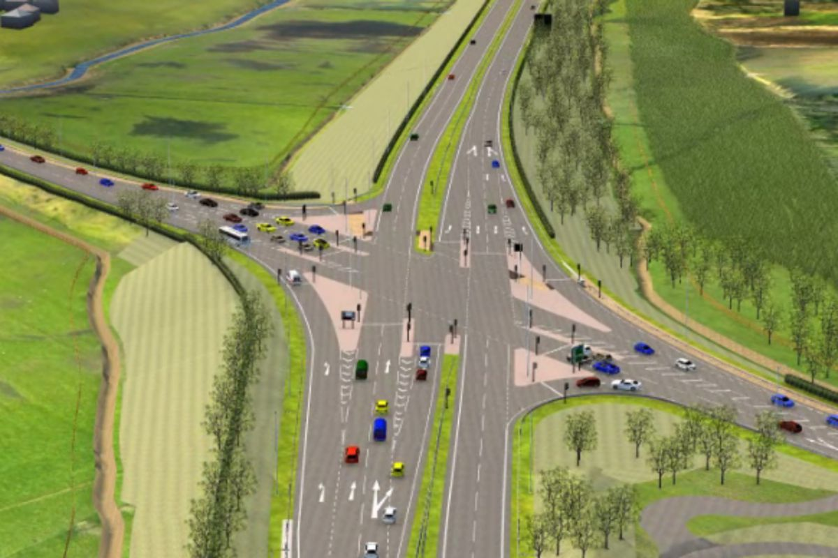 An aerial view of the proposed Poulton junction of the new A585 bypass - with a roundabout idea now replaced by traffic lights