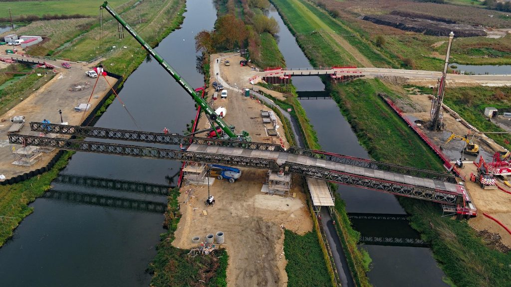 Galliford Try installs 5 span Bailey bridge over River Witham