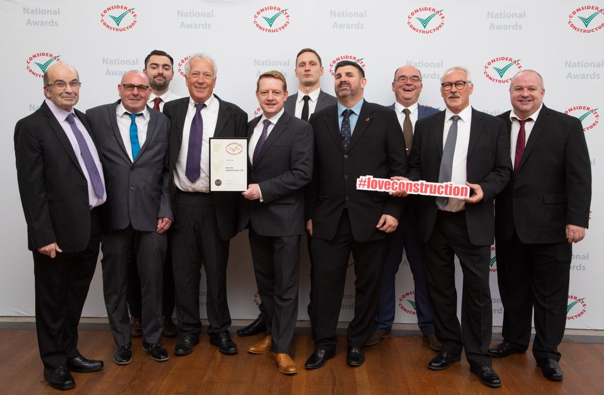 Eurovia Infrastructure receives the Gold Award at the Considerate Constructers Scheme 2018 National Company and Supplier Awards