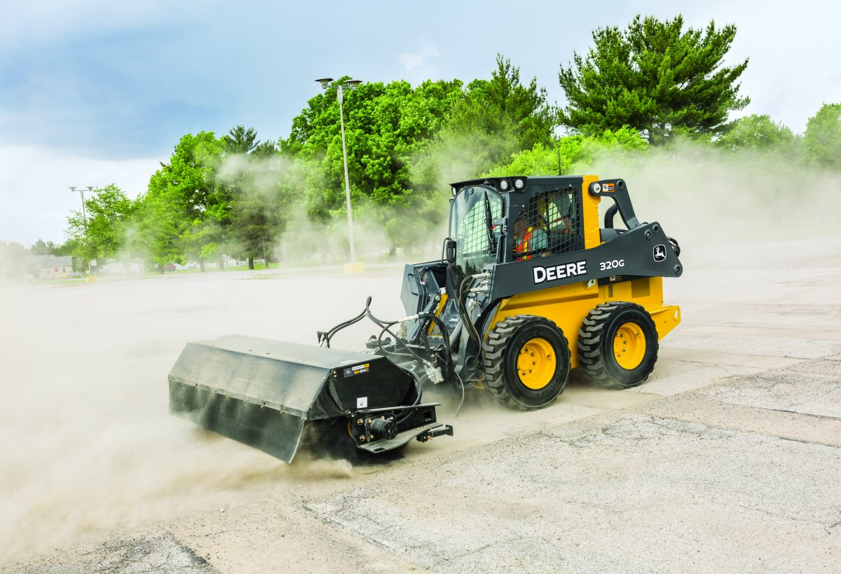 New John Deere Angle and Pickup Brooms make snow and debris clean-up easy