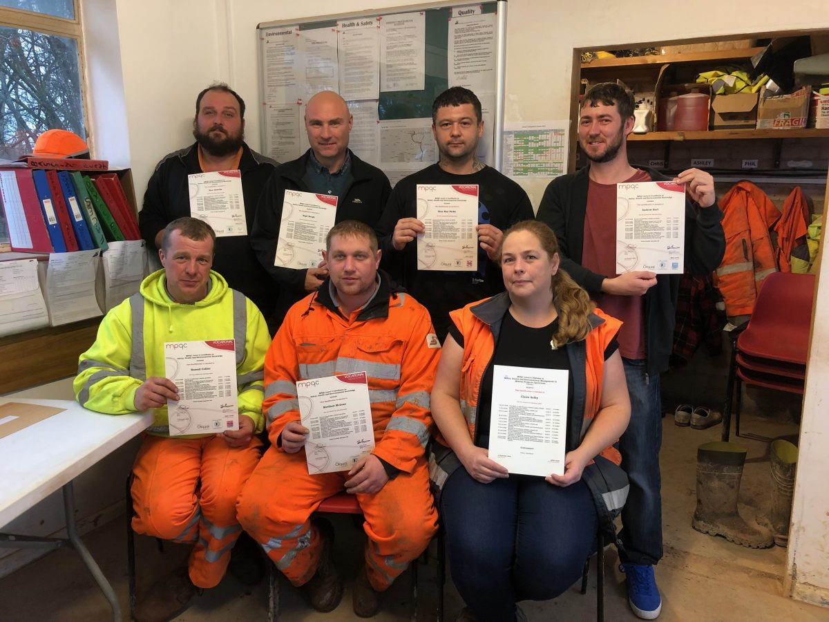 First Cohort complete Institute of Quarrying Level 3 SHE Certificate