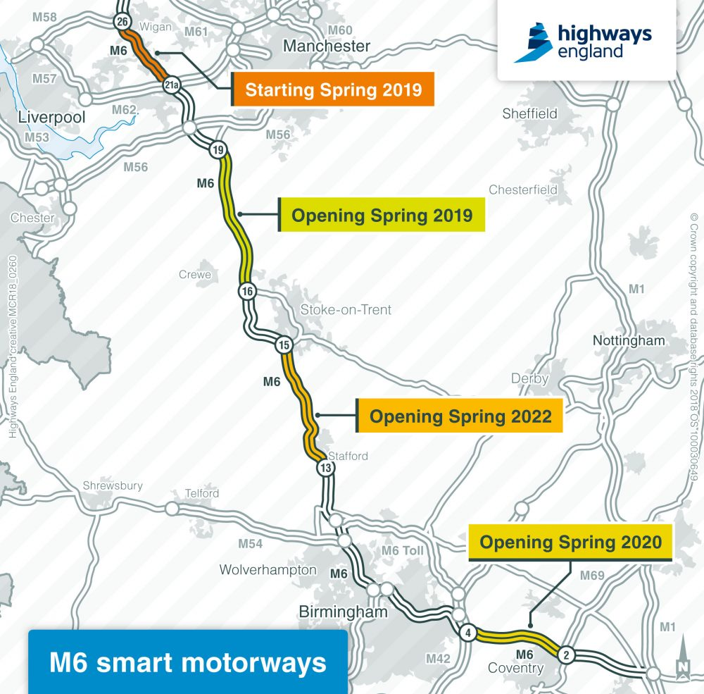 M6 smart motorways map
