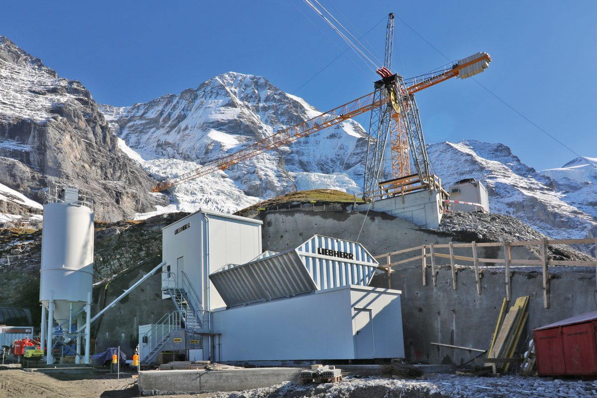 Liebherr concrete mixing plant operating at high altitude on the Eiger Glacier in Switzerland
