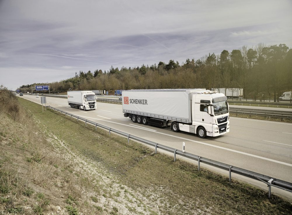 DB Schenker convoy of MAN trucks.