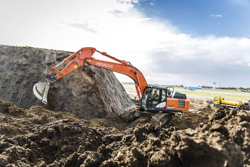Hitachi excavator digs in at Porto Airport project in Portugal