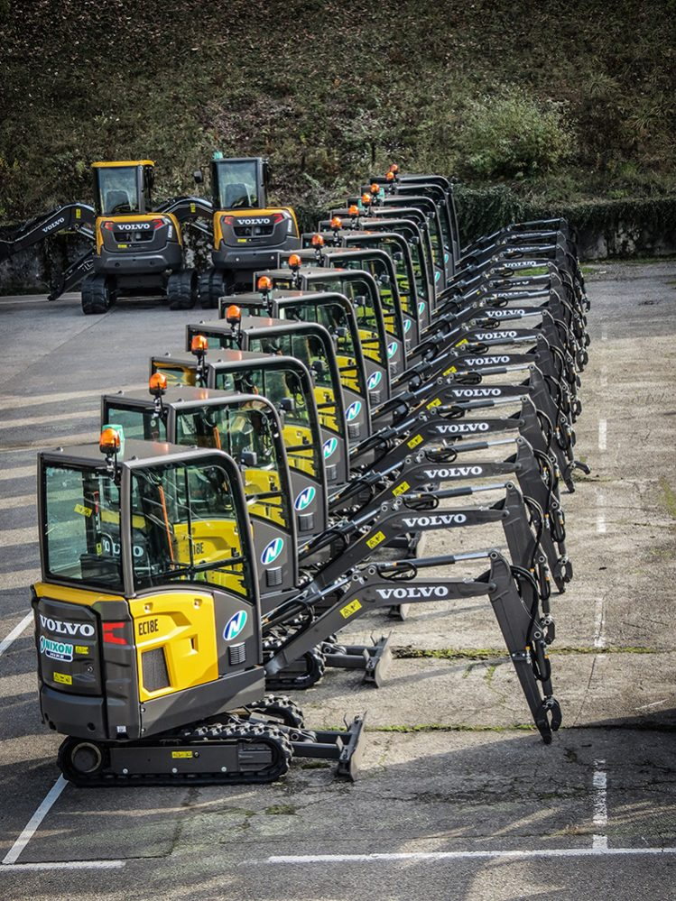 The first 16 Volvo EC18Es in Great Britain heading for Nixon Hire