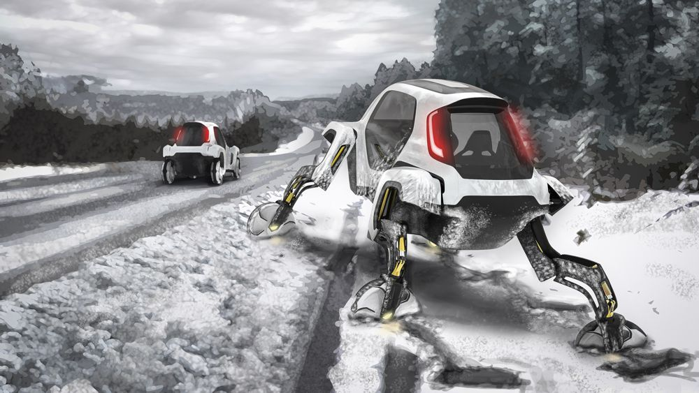 A Hyundai Elevate climbs itself out of a snow covered ditch.