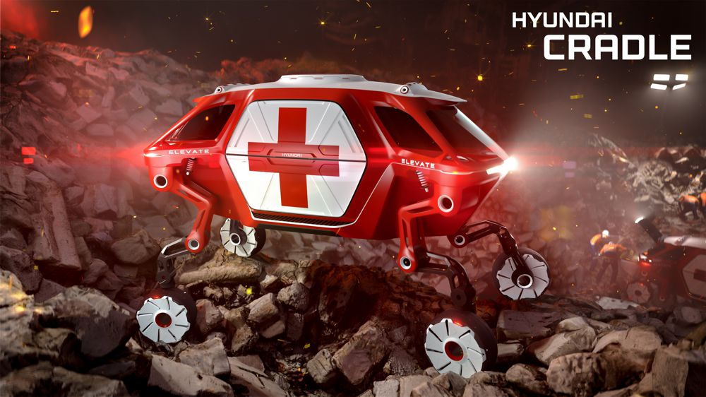 The Hyundai Elevate Concept in action after an earthquake.
