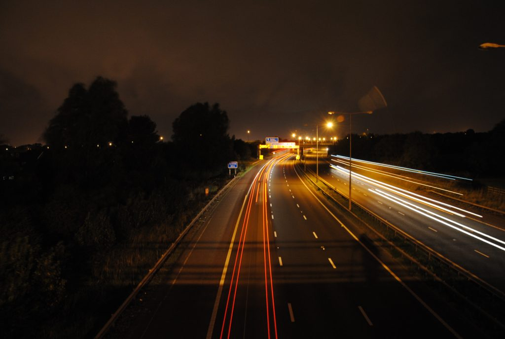 M6 at Night - Photo by Gareth Brooks