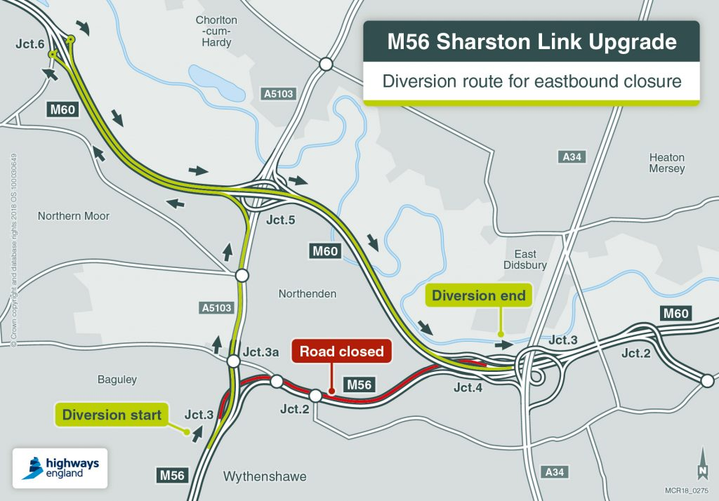 The diversion route for the weekend closure of the eastbound M56 carriageway.