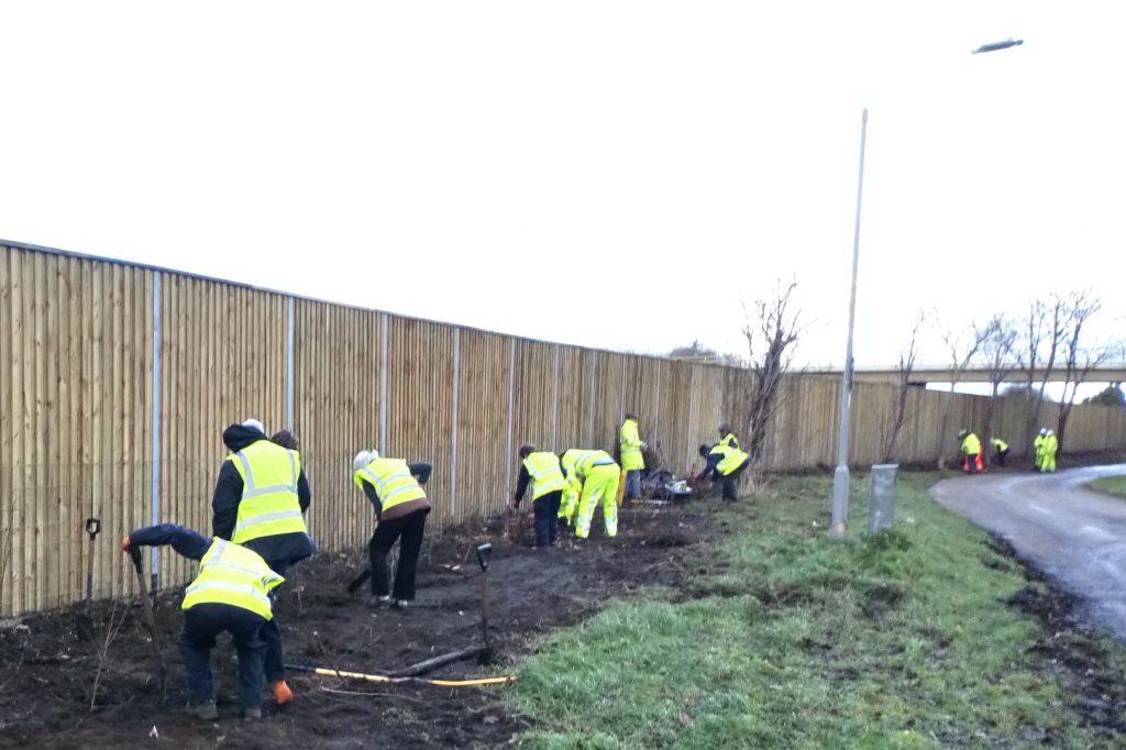 Noise barrier volunteers